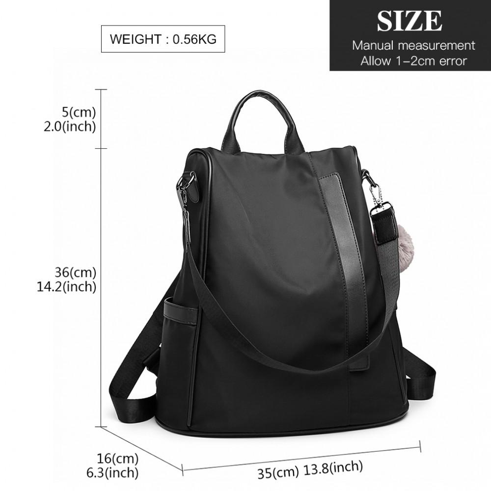 Černý dámský elegantní batoh Miss Lulu