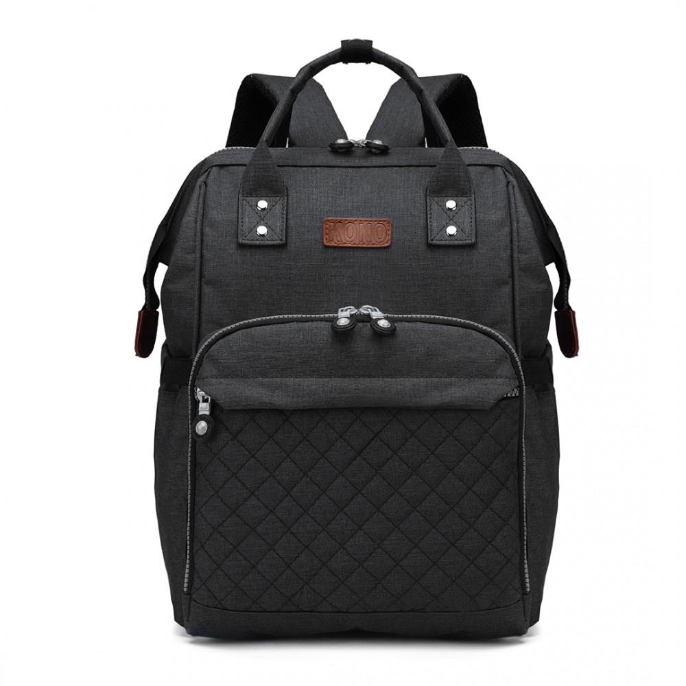 KONO Černý batoh pro maminky vhodný i na kočárek