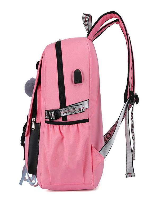 Veľký fialový študentský dizajnový batoh pre dievčatá, USB port