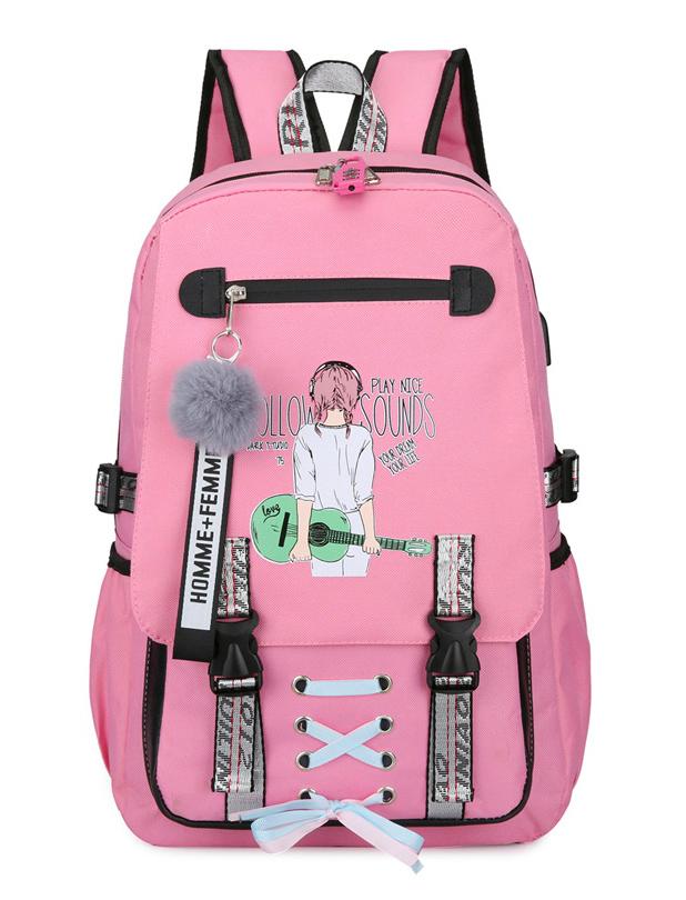 Velký růžový studentský designový batoh s potiskem pro dívky, USB port