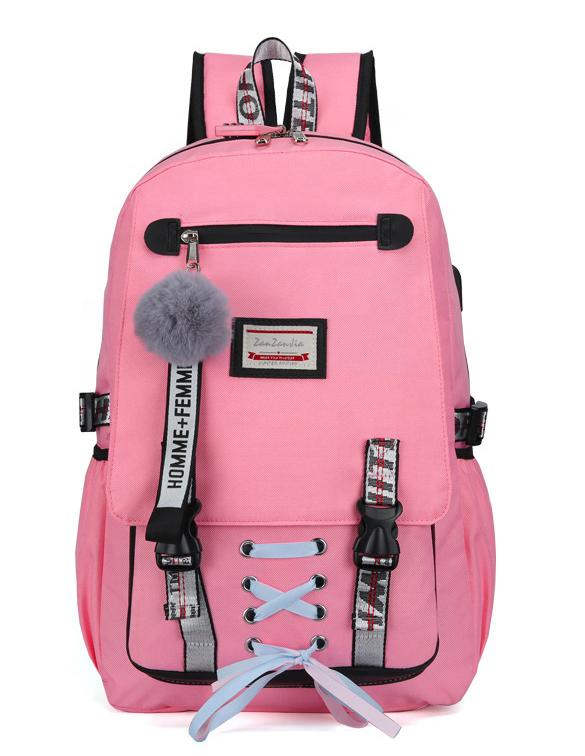 Velký růžový studentský designový batoh pro dívky, USB port