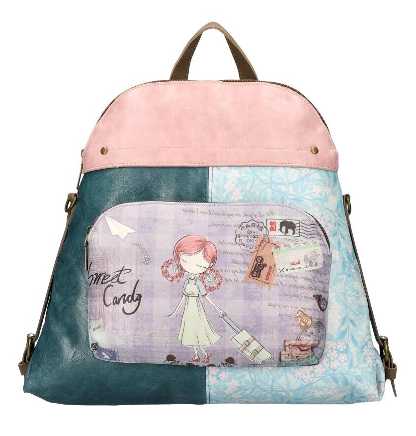 Sweet & Candy Dámsky farebný batôžtek s potlačou petrolejová modrá