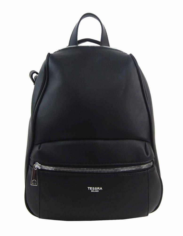 TESSRA MILANO Elegantný čierny dámsky ruksak / kabelka 4944-TS