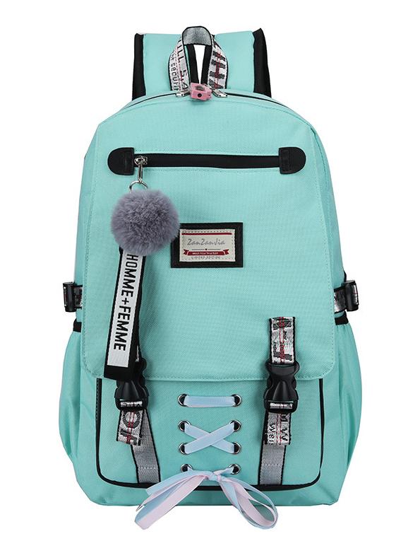 Velký tyrkysový studentský designový batoh pro dívky, USB port