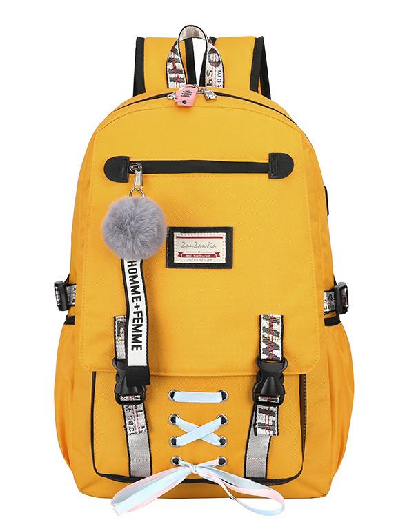 Velký žlutý studentský designový batoh pro dívky, USB port