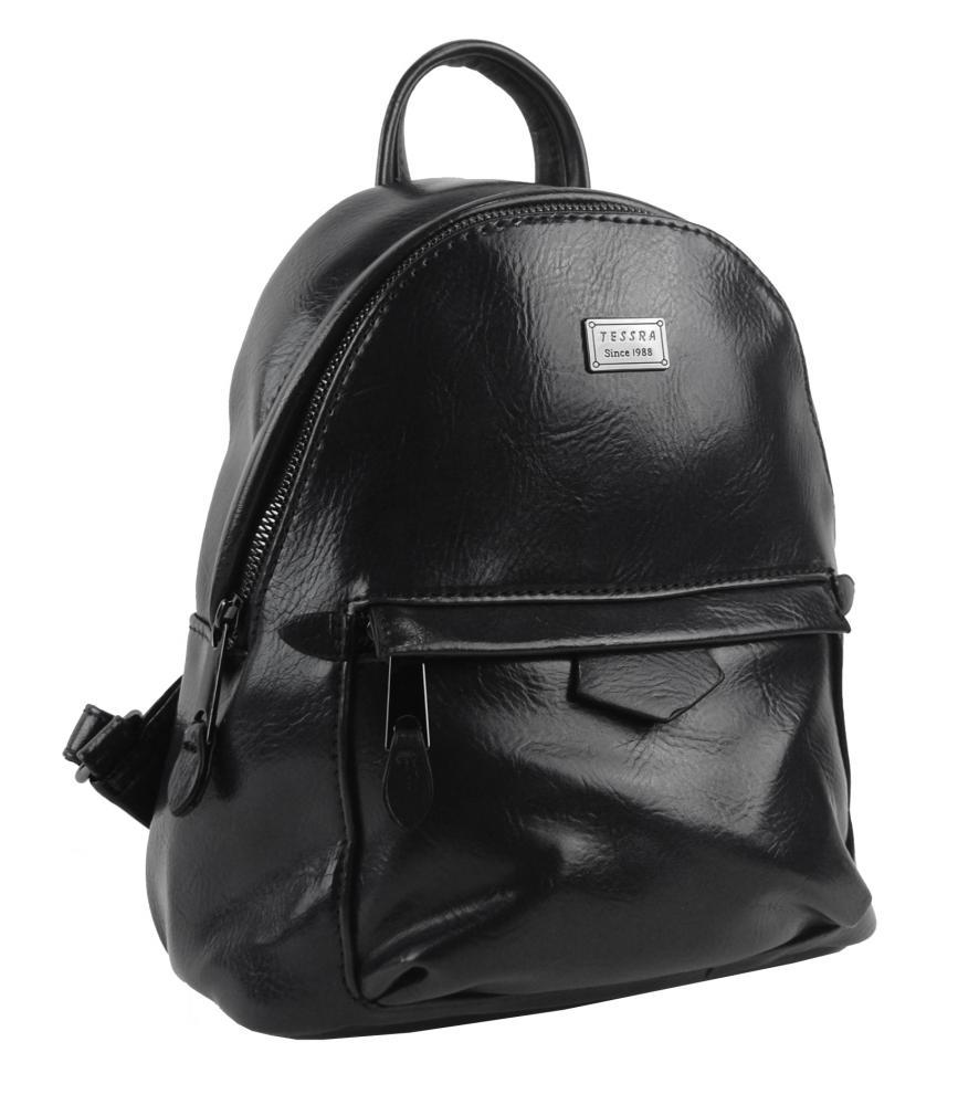 TESSRA Malý černý lesklý dámský batůžek / kabelka 4827-TS
