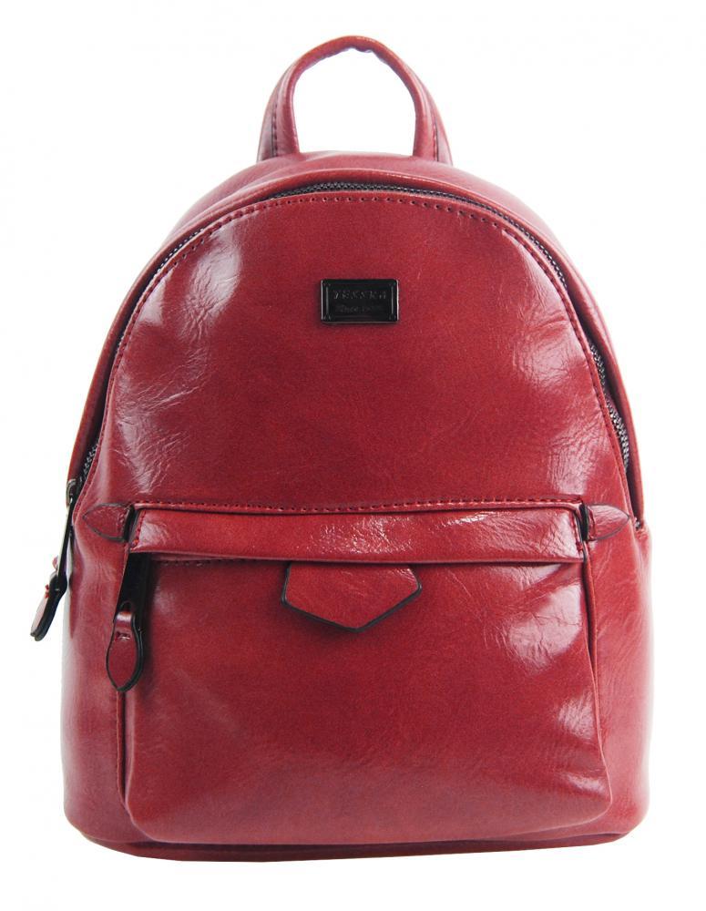 Malý červený lesklý dámsky batôžtek / kabelka 4827-TS