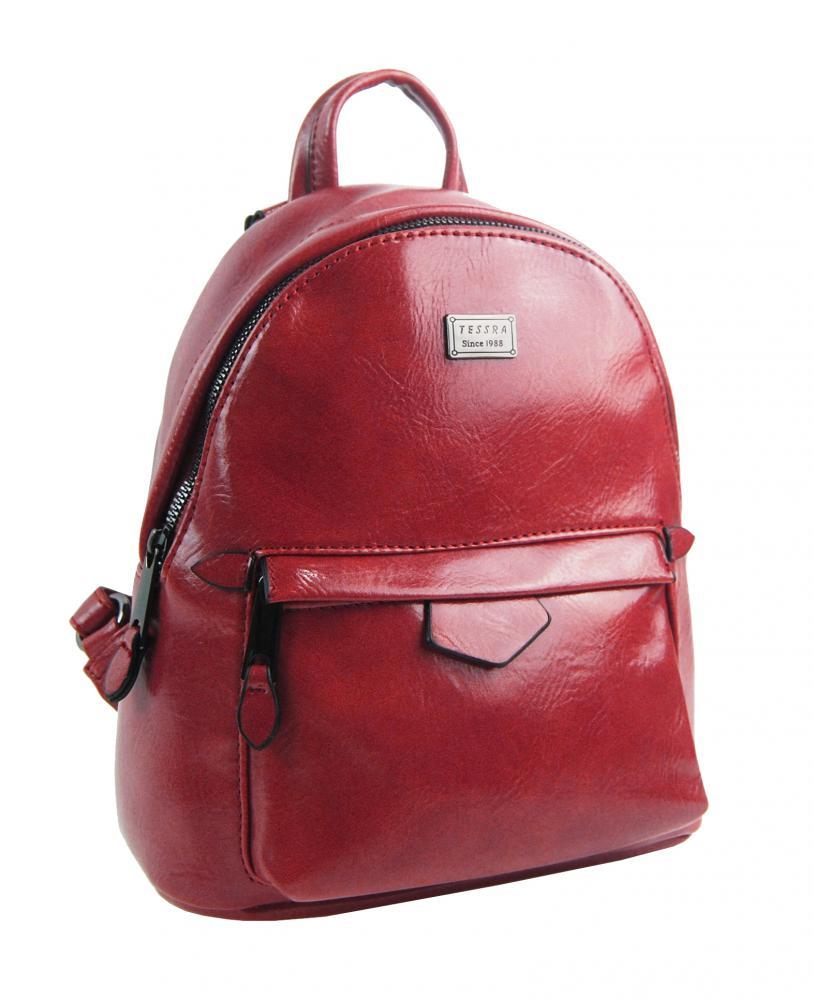 Malý červený lesklý dámský batůžek / kabelka 4827-TS