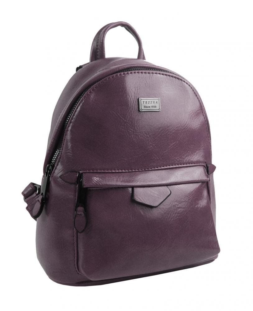 TESSRA Malý purpurový lesklý dámský batůžek / kabelka 4827-TS