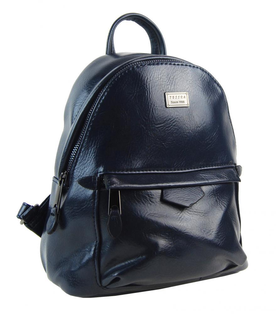 TESSRA Malý inkoustově modrý lesklý dámský batůžek / kabelka 4827-TS
