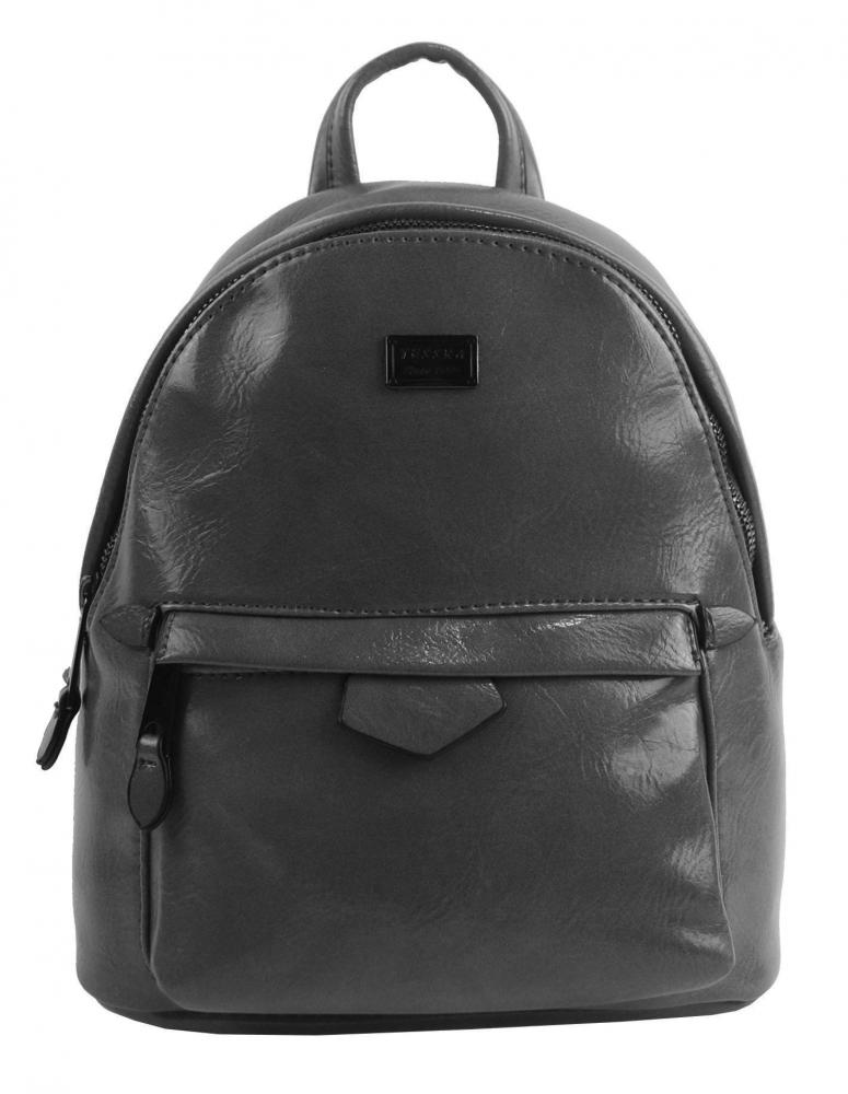 Malý tmavo šedý lesklý dámsky batôžtek / kabelka 4827-TS