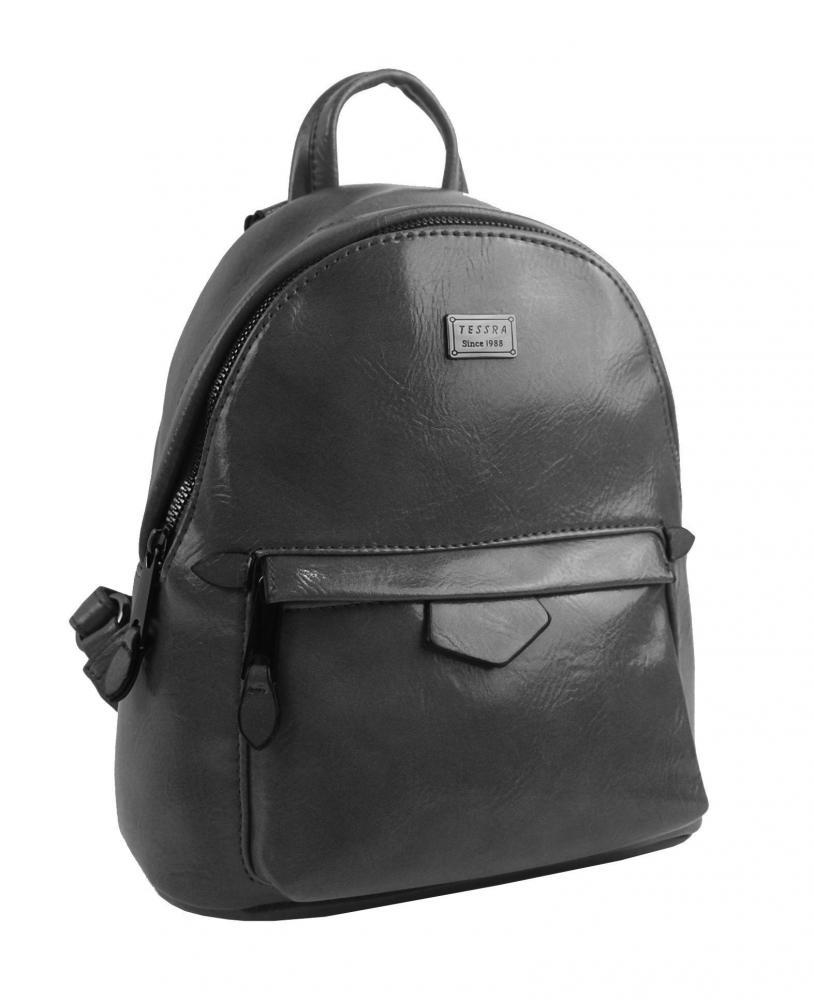 TESSRA Malý tmavě šedý lesklý dámský batůžek / kabelka 4827-TS