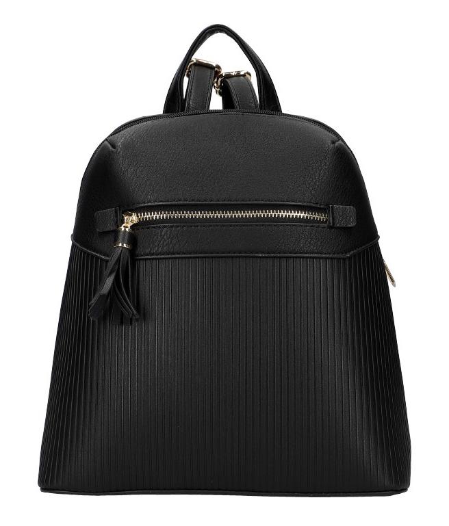 Černý módní dámský batůžek s čelní kapsou AM0065