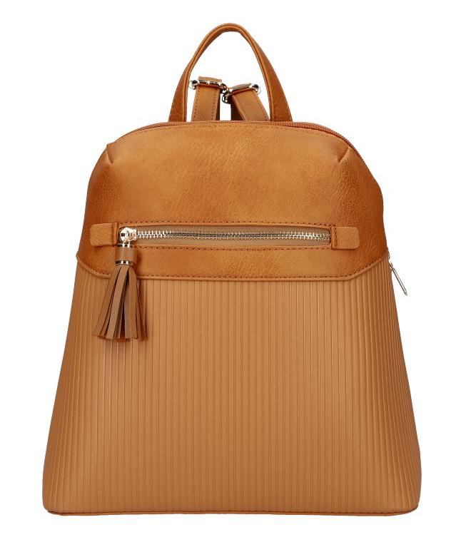 Hnědý módní dámský batůžek s čelní kapsou AM0065