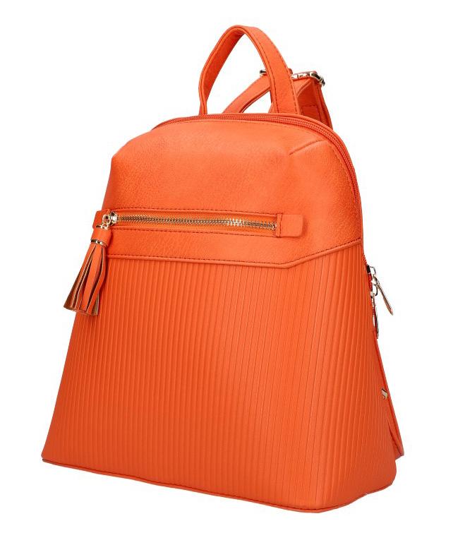 Korálově oranžový módní dámský batůžek s čelní kapsou AM0065