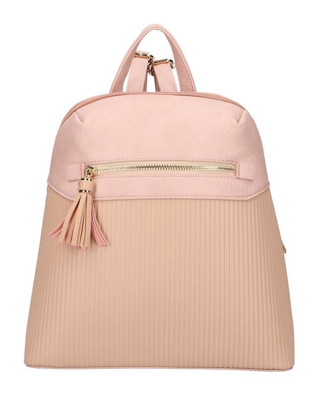 Růžový módní dámský batůžek s čelní kapsou AM0065