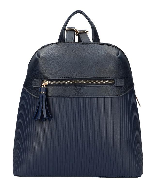Tmavě modrý módní dámský batůžek s čelní kapsou AM0065