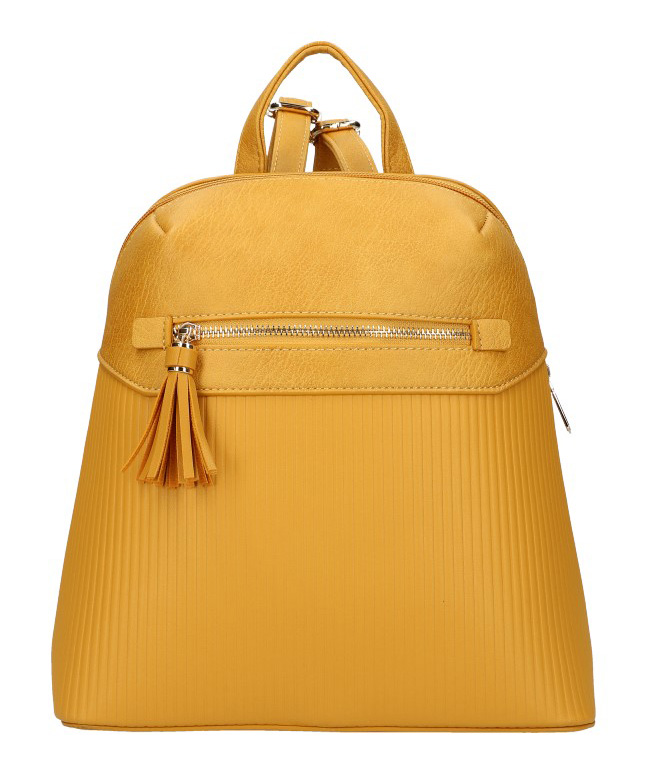 Žlutý módní dámský batůžek s čelní kapsou AM0065