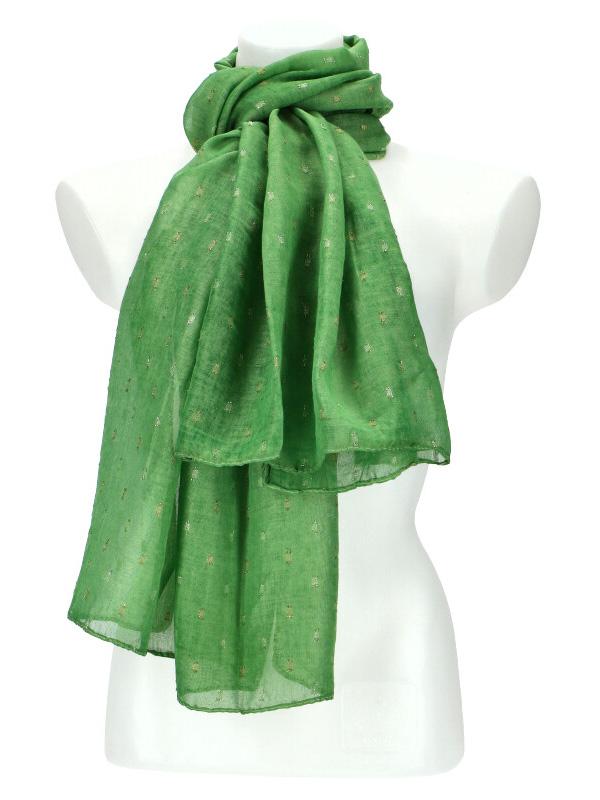 Dámský letní jednobarevný šátek / šála 180x90 cm zelená