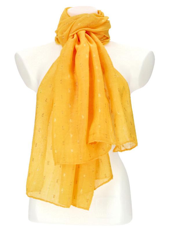 Dámský letní jednobarevný šátek / šála 180x90 cm žlutá