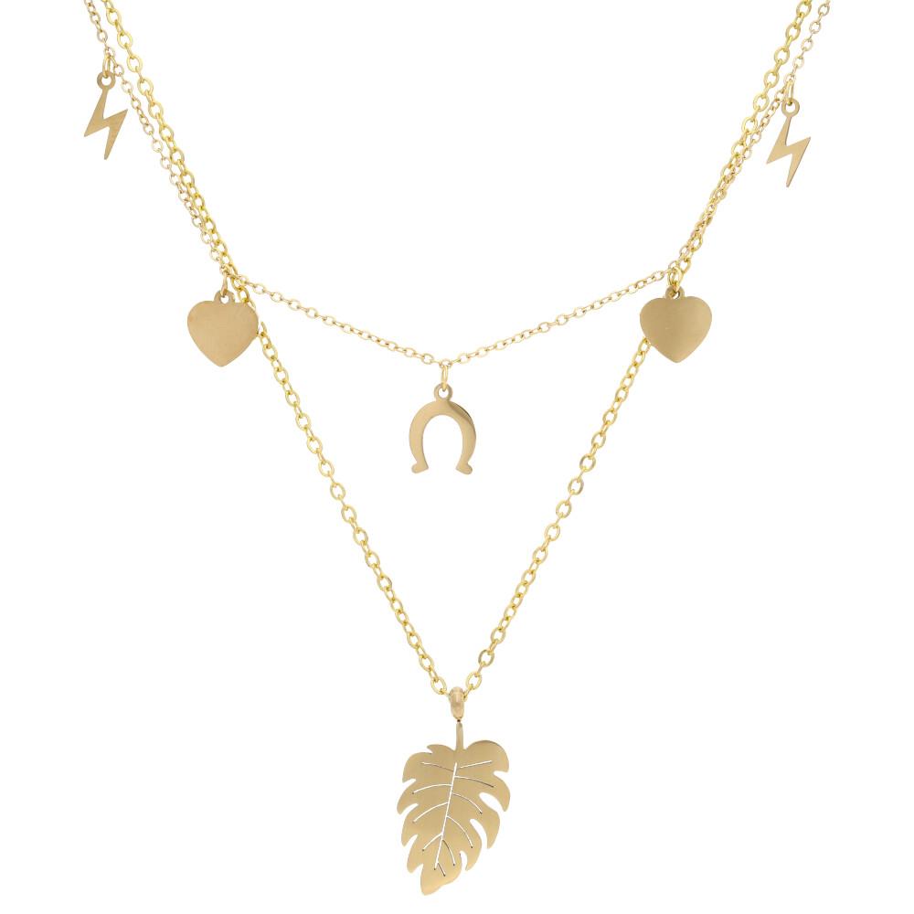Zlatý dámsky náhrdelník s lístkom NP008