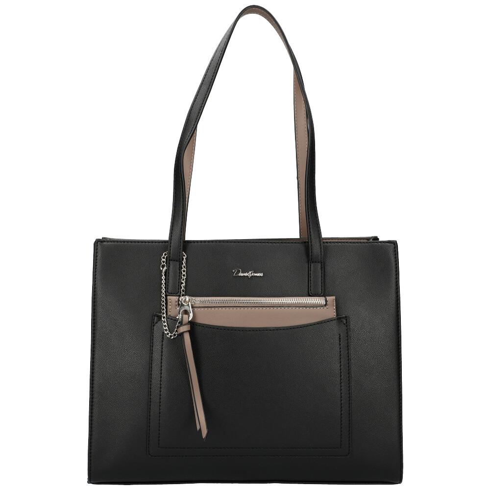 Čierna veľká dámska kabelka cez rameno David Jones CM5305
