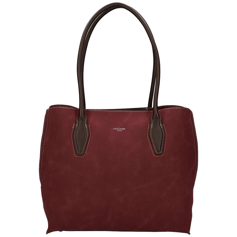 Vínová velká dámská kabelka přes rameno David Jones CM5327
