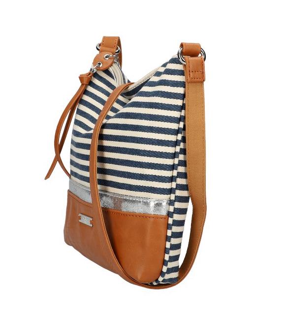 DAVID JONES Letná crossbody dámska kabelka s modrými pruhmi 6284-1A