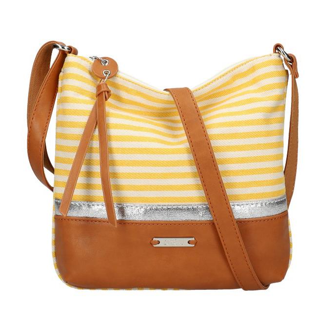 DAVID JONES Letní crossbody dámská kabelka se žlutými pruhy 6284-1A