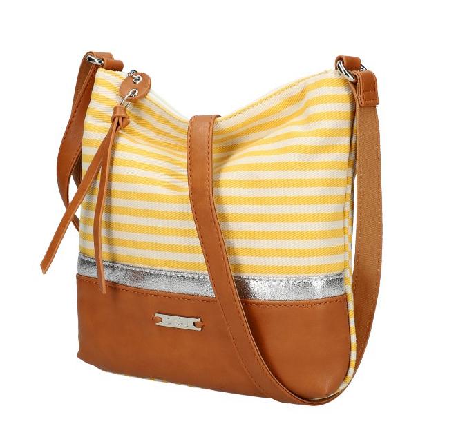 DAVID JONES Letná crossbody dámska kabelka so žltými pruhmi 6284-1A