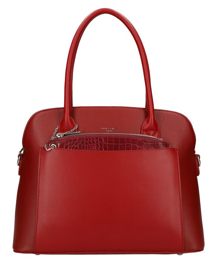 Tmavo červená moderná dámska kabelka David Jones 6105-1