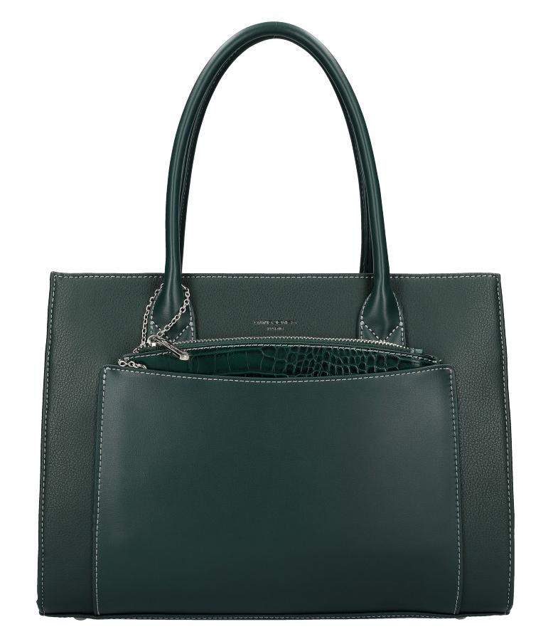 Zelená moderní dámská kabelka David Jones 6105-2