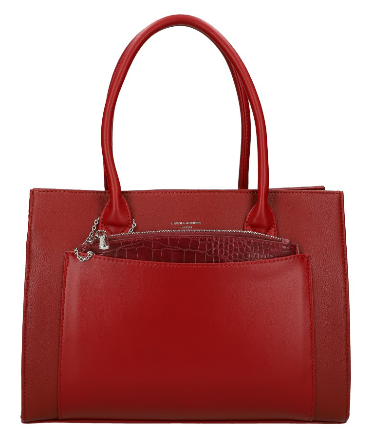 Tmavo červená moderná dámska kabelka David Jones 6105-2