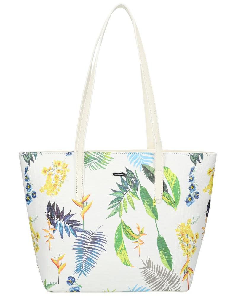 DAVID JONES Biela dámska kabelka cez rameno v kvetovanom dizajne 6306-4