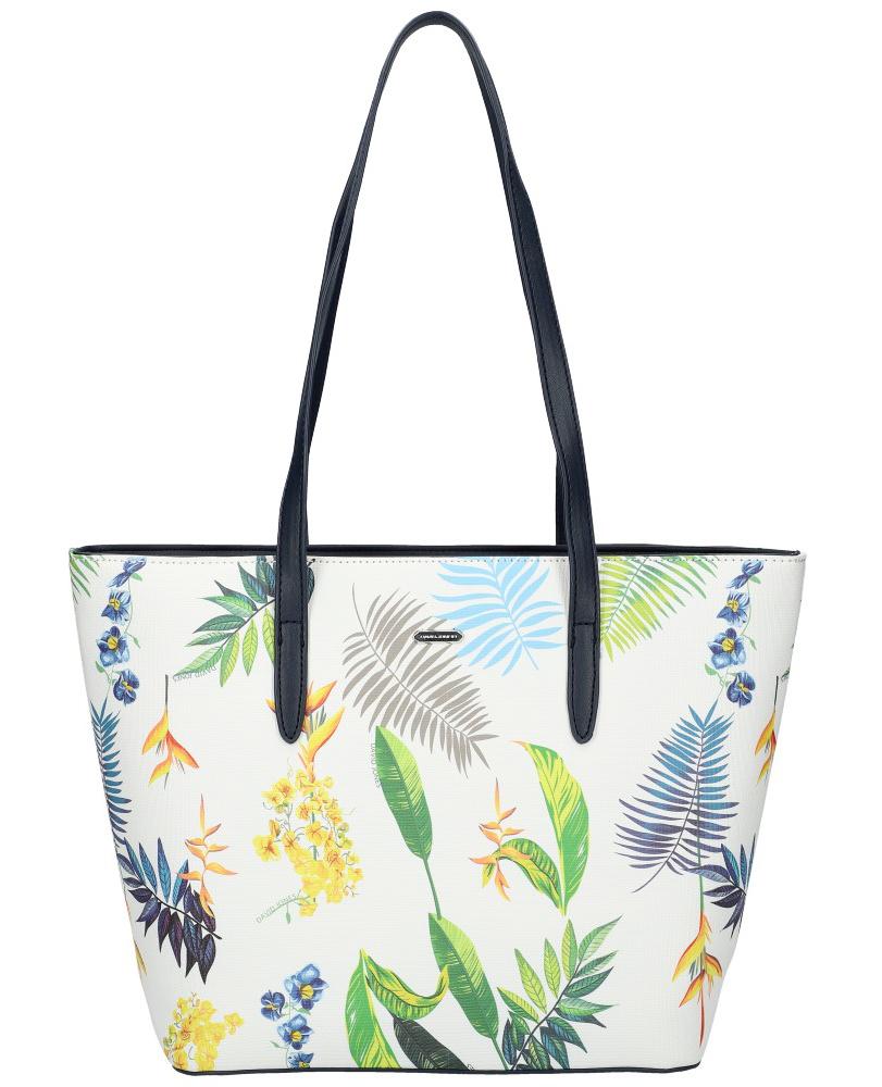 DAVID JONES Modrá dámská kabelka přes rameno v květovaném designu 6306-4
