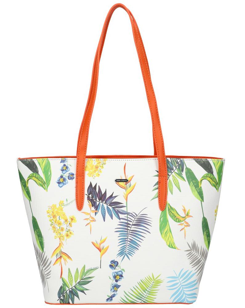 DAVID JONES Oranžová dámska kabelka cez rameno v kvetovanom dizajne 6306-4