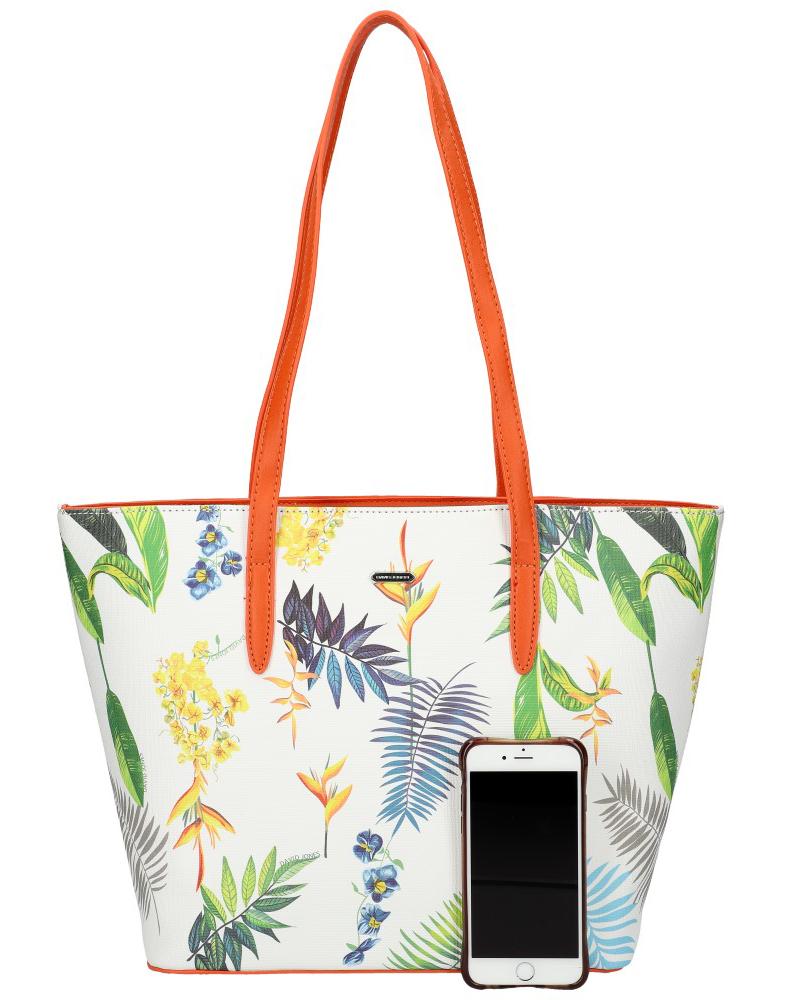 DAVID JONES Oranžová dámská kabelka přes rameno v květovaném designu 6306-4