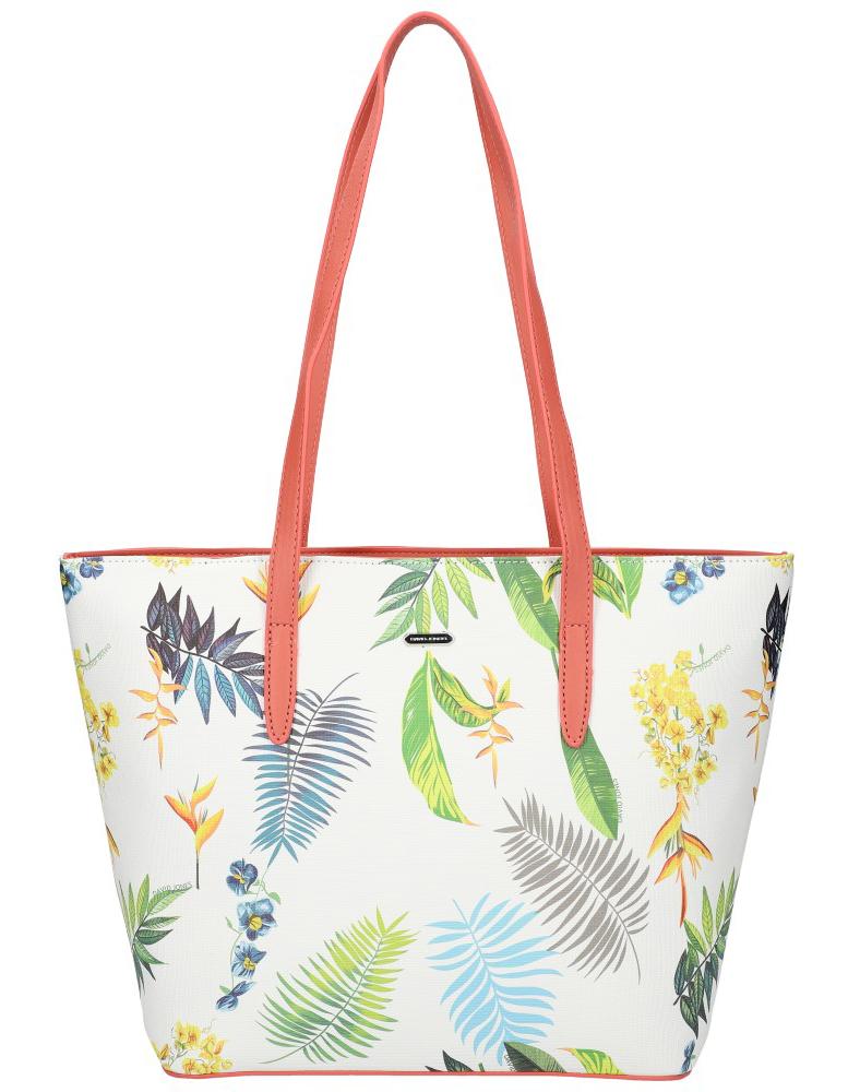 DAVID JONES Růžová dámská kabelka přes rameno v květovaném designu 6306-4