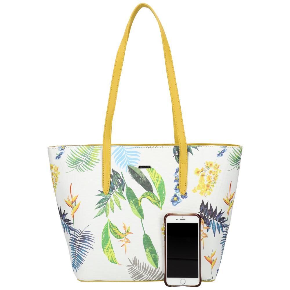 DAVID JONES Žltá dámska kabelka cez rameno v kvetovanom dizajne 6306-4