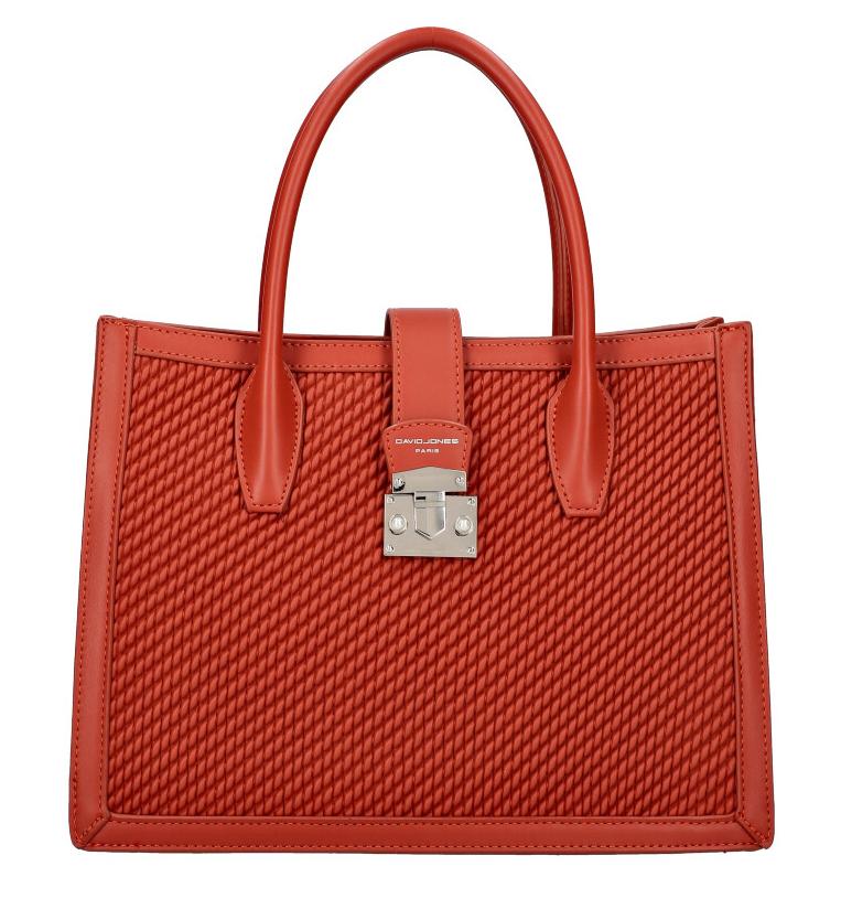 DAVID JONES Tehlovo červená dámska kabelka v prepletanom dizajne 6423-3