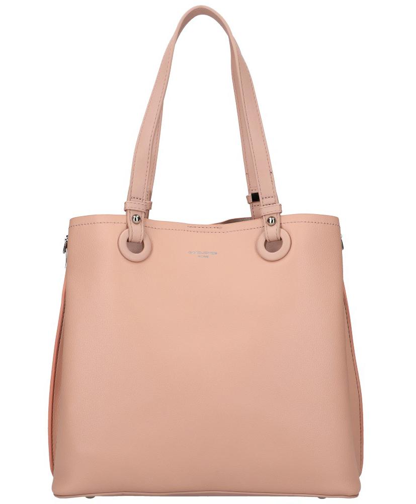 DAVID JONES Růžová velká dámská kabelka přes rameno CM5681