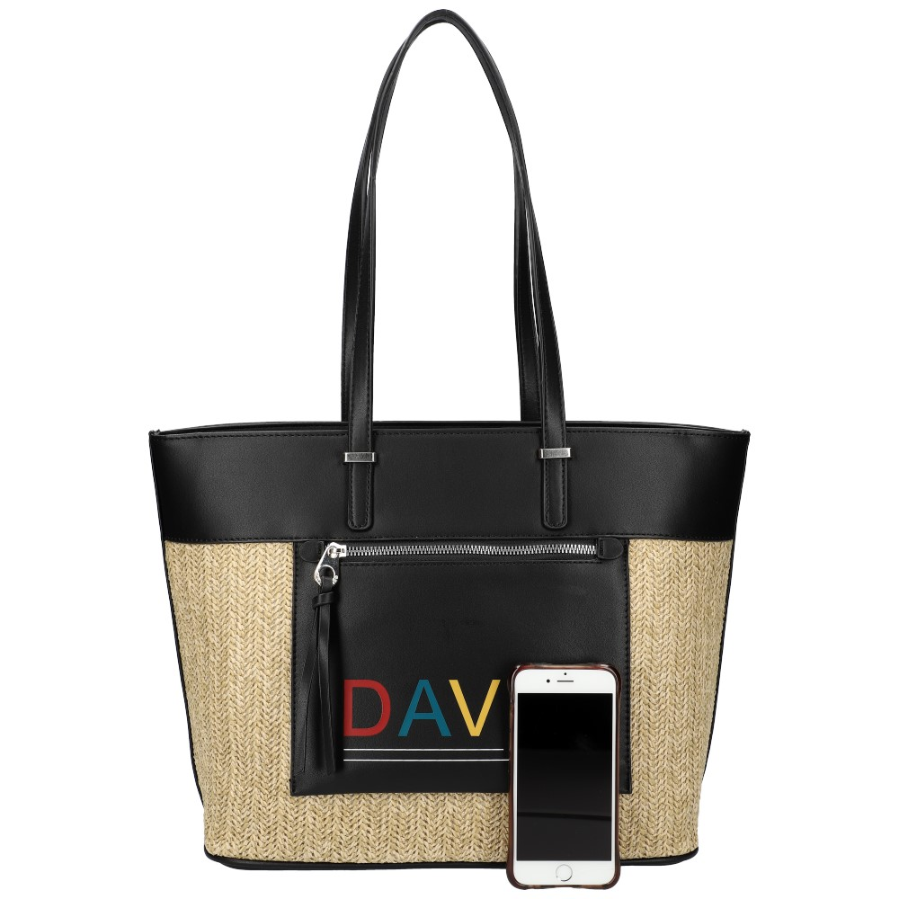 DAVID JONES Čierna veľká dámska kabelka cez rameno CM5741