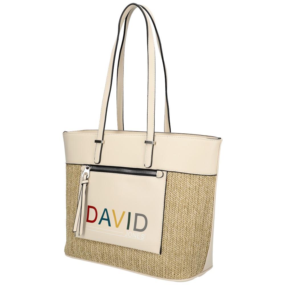 DAVID JONES Krémová veľká dámska kabelka cez rameno CM5741