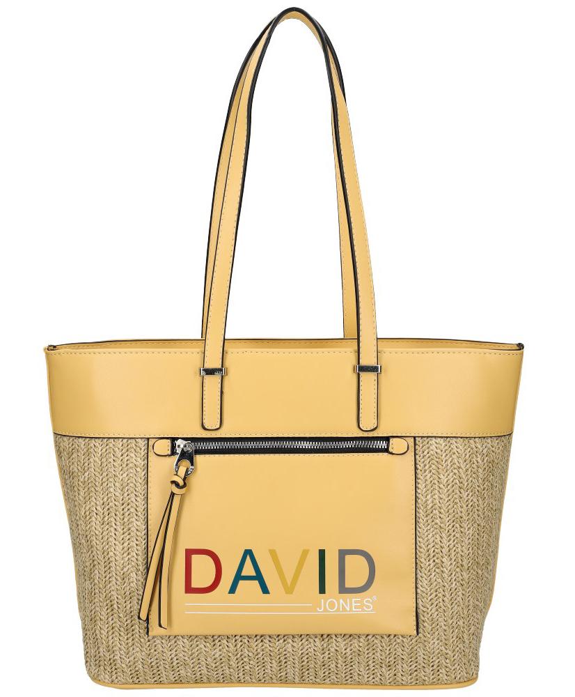 DAVID JONES Žltá veľká dámska kabelka cez rameno CM5741