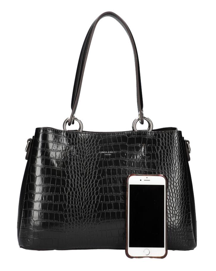 DAVID JONES Černá dámská kabelka v krokodýlím designu CM5896