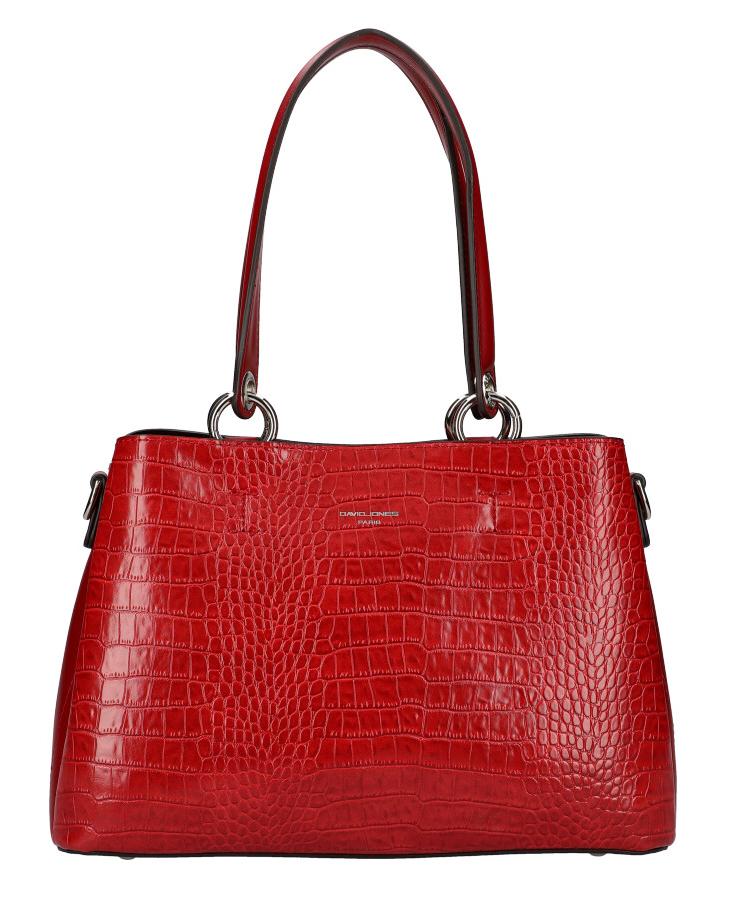 DAVID JONES Červená dámská kabelka v krokodýlím designu CM5896
