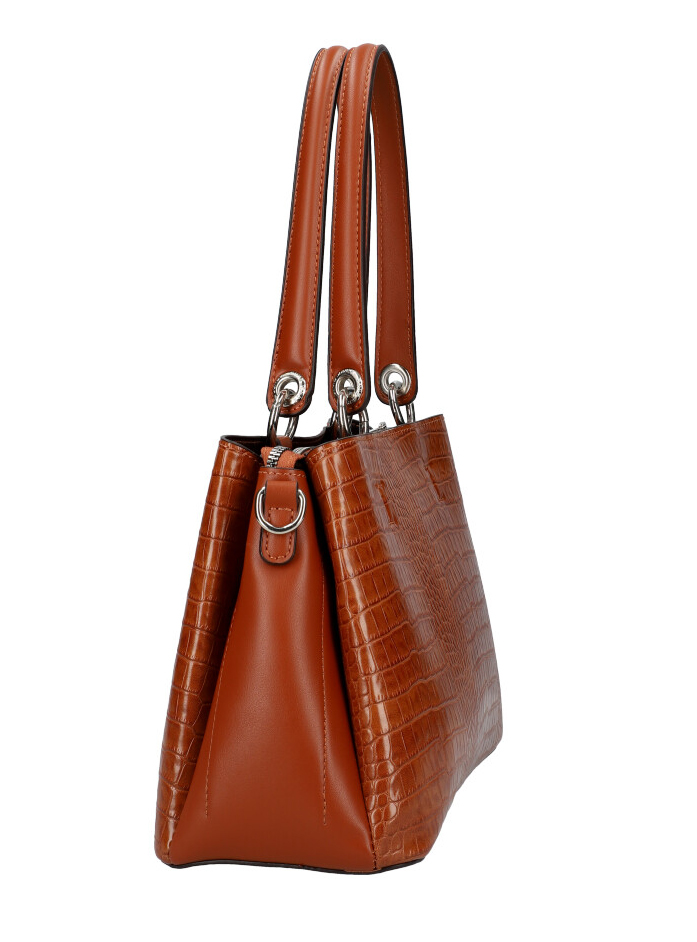 DAVID JONES Hnědá dámská kabelka v krokodýlím designu CM5896