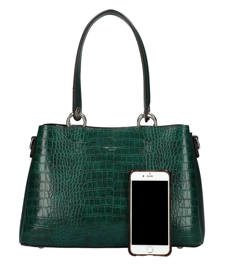 DAVID JONES Smaragdově zelená dámská kabelka v krokodýlím designu CM5896