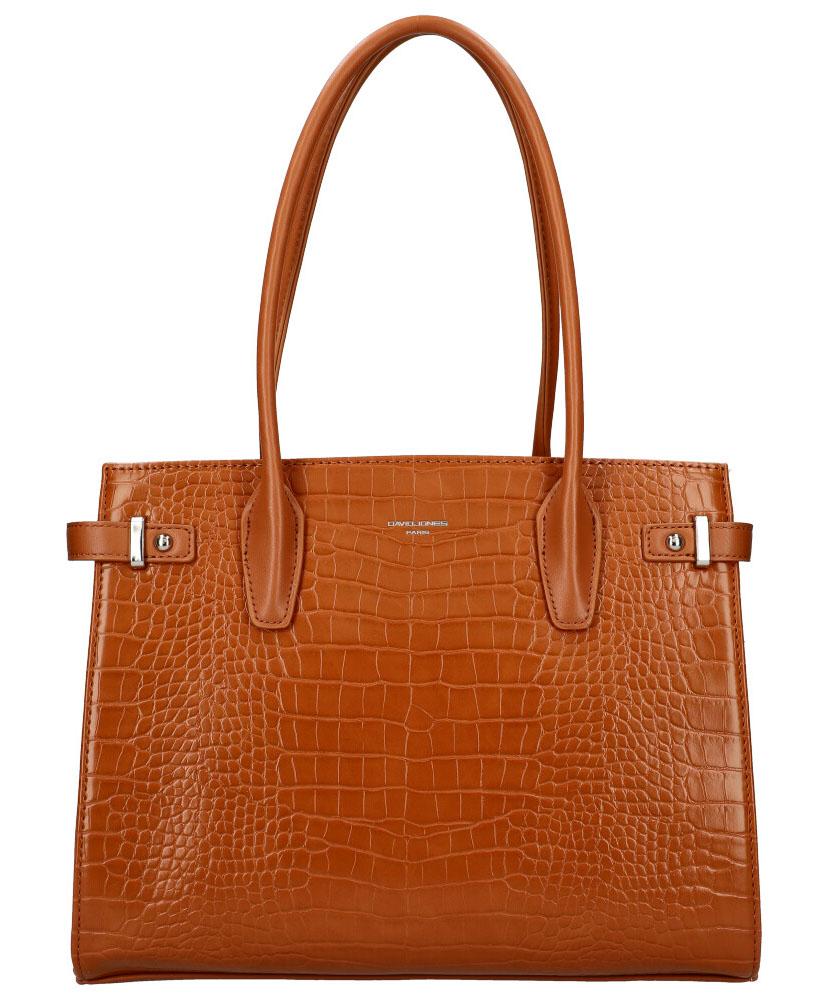 DAVID JONES Koňaková hnedá dámska kabelka v krokodílom dizajne CM5846