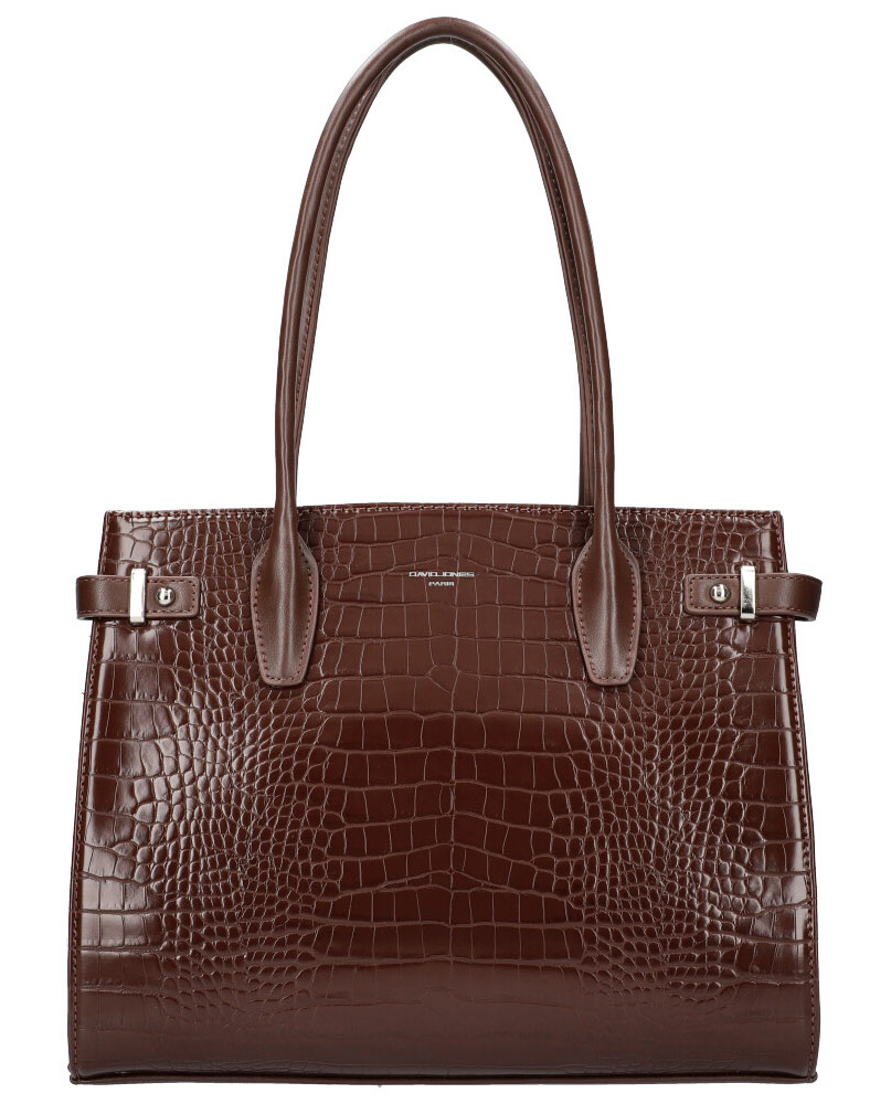 DAVID JONES Tmavá hnedá dámska kabelka v krokodílom dizajne CM5846